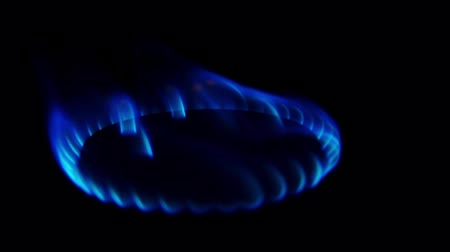 firebox : Kitchen burner turning on. Stove top burner igniting into a blue cooking flame. Natural gas inflammation, close up