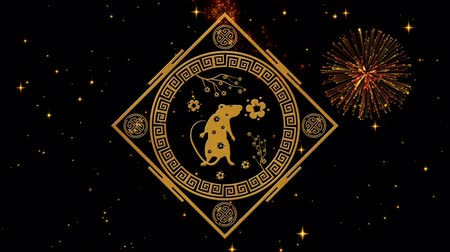 лунный : Lunar New Year, Spring Festival background with golden rat, fireworks, glittering stars. Chinese new year black starry night backdrop for holiday event. 3D rendering animation. Seamless loop 4k video Стоковые видеозаписи