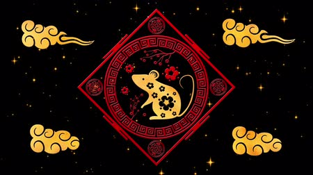 red rodent : Black Chinese New Year background with gold, rat, 3D rendering loop 4k. Magical Happy new year animation.