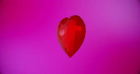 art : Happy Valentines Day background with red polygonal heart For Valentines Day event. Loop animation 4k Wideo