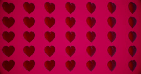 art : Romantic pattern with polygonal red hearts. For Valentines Day event. Loop animation 4k. 3D rendering loopable animation 4k
