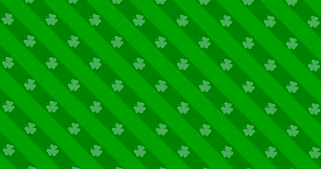 st patrick : Patrick Day background with falling shamrock leaf pattern. For festive pub party. 3d render, loop 4k