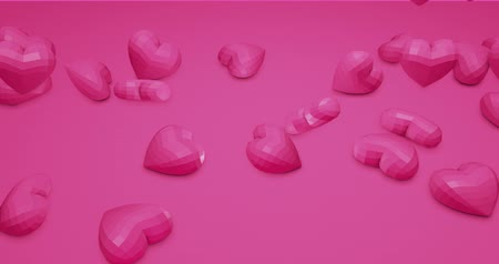 walentynki : Pink cute falling polygonal hearts. Valentines Day. event background. 3D rendering animation 4k Wideo