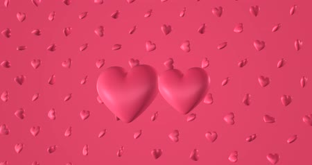 čmáranice : Romantic pattern with doodle pink hearts. For St. Valentines Day. wedding invitation e-card. 3D rendering loopable animation 4k. Dostupné videozáznamy