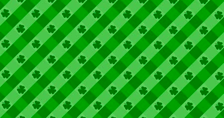 lucky charm : Patrick Day background with falling shamrock leaf pattern. For festive pub party. 3d render, loop 4k