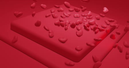 ポリゴン : Red glamor falling polygonal hearts. Valentines Day. event background. 3D rendering loopable animation 4k