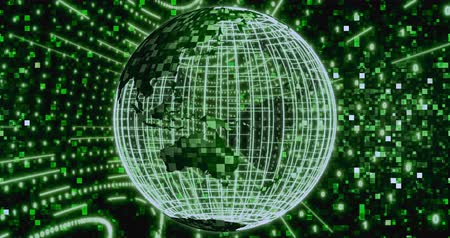 matriz : Matrix Digital binary background with rotating Planet earth. Seamless loop 4k animation for network, digital event.