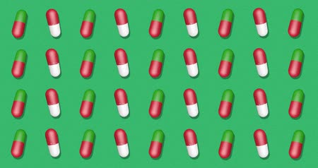 fogyókúra : Green Background with pills. Backdrop with bright pattern for instagram, facebook, youtube channel. Animation 3d render, loop 4k
