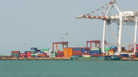 carregamento : Chonburi Leamchabang harbor, THAILAND - May 21: Industrial Container Cargo freight at harbor for Logistic Import Export on May 21, 2016 at Leamchabang harbor Thailand. Vídeos