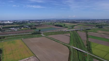fruitful : Aerial photography: blue skies of autumn and the harvest of grain  22 Stock Footage