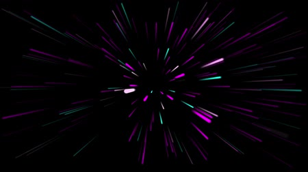 fibra : Abstract creative cosmic background. Hyper jump into another galaxy. Speed of light, neon glowing rays in motion. Beautiful fireworks, colorful explosion, big bang. Moving through stars. Seamless loop Vídeos