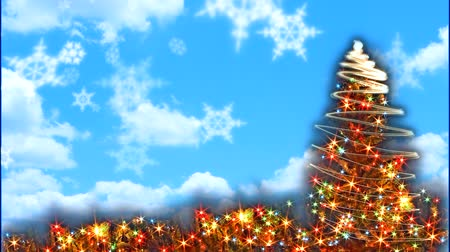 質地 : Sparkling Christmas tree with blue sky and moving effect