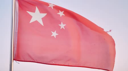 socialist republic : Chinese red flag flutters in wind Stock Footage