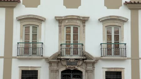 minas gerais : Front of old colonial Portuguese architecture. Front balcony of antique architecture Stock Footage
