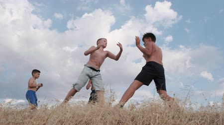 Training of boys in hand-to-hand combat in natural conditions