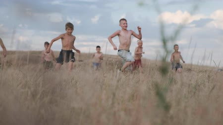 stadion : A view of children, competing in running in a field with yellow grass
