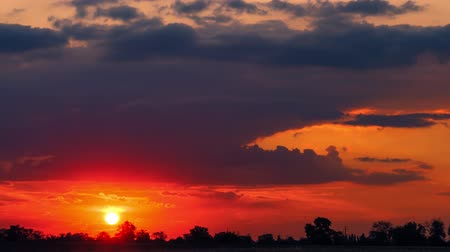 ature : Sunset over far-away trees. TimeLapse, Stock Footage