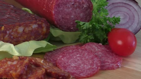 kiełbasa : Sausage of salami on a cutting board