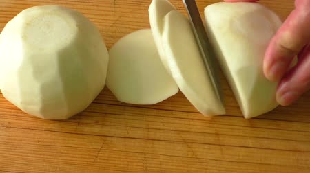 daikon radish : Tasty fresh crude white round japanese radish Stock Footage