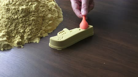 крупные планы : Kinetic sand heap for children. Kinetic sand close-up.