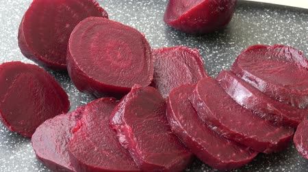 burak : Beetroot (beet) chopped for salad. Healthy ingredient for cooking. Cooked beet.