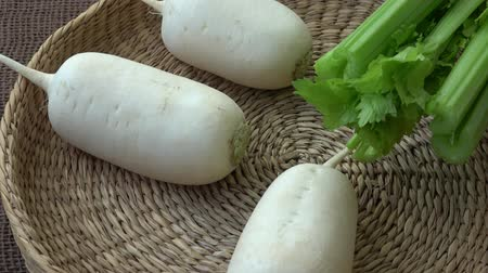 rabanete : Fresh vegetables radish celery. Uncooked vegetables Stock Footage