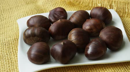 Ripe chestnuts. Fresh sweet chestnut. Raw Chestnuts for Christmas.