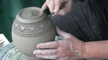 Process of creating a ceramic vase. Handmade products.
