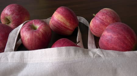reciclado : Apples  cotton bag. Eco friendly packaging, zero waste. No plastic concept.