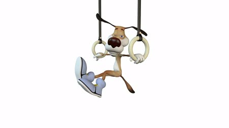the gymnast on rings does exercises. sport. illustration.