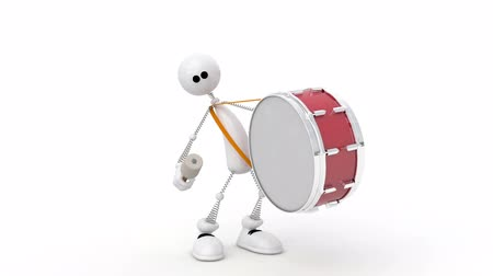 The 3D person with a drum. Stock mozgókép