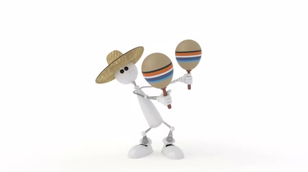 The 3D character plays on a maracas Stock mozgókép
