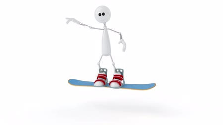 The 3D person on a snowboard.