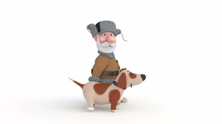 The 3D grandfather walks with a dog. Stock mozgókép
