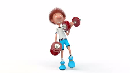 The 3D little boy with dumbbells.
