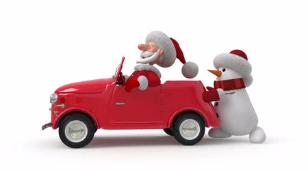 3d Santa Claus by car Stock mozgókép