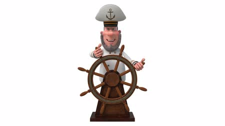 3d illustration sea captain with the wheel Stock mozgókép