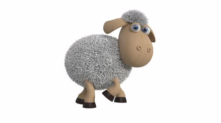 cordeiro : 3d illustration of funny white sheep  3d illustration of farm animals