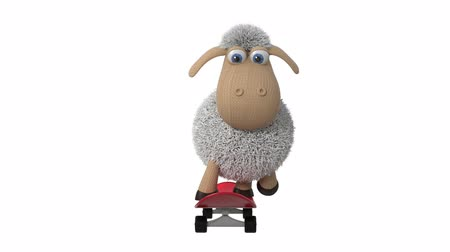 3d animation funny sheep skateboarding  3d animation little white sheep doing sports