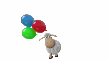 3d animation sheep flies on the balloons