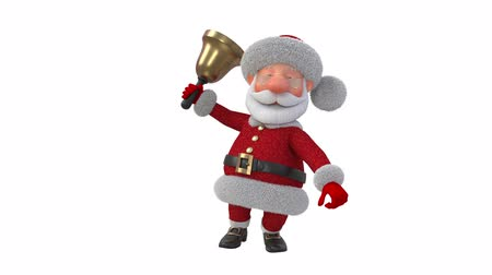 3d illustration Jolly Santa Claus with a bell  3d illustration Christmas greeting fairy tale characters
