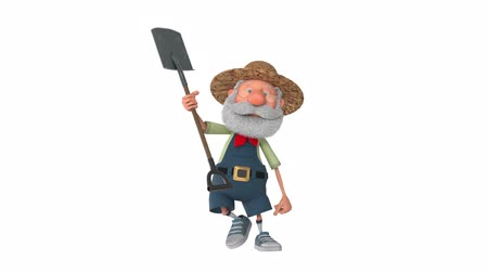 caricatura : 3D illustration of the farmer costs with a shovel
