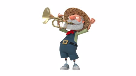3d illustration cheerful farmer plays the trumpet
