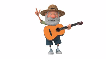 beckoning : 3d illustration cheerful farmer scout plays the guitar