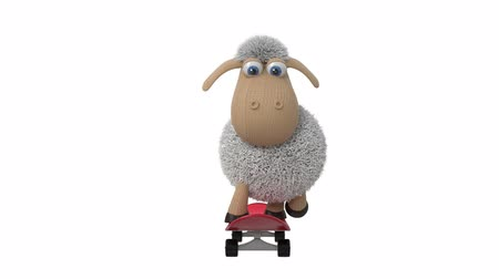 3d animation funny sheep skateboarding Stock mozgókép