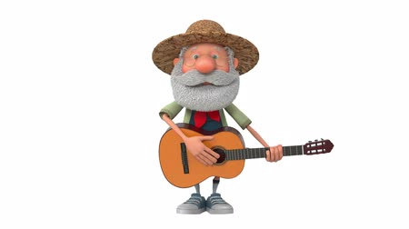 posando : 3d illustration cheerful farmer scout plays the guitar