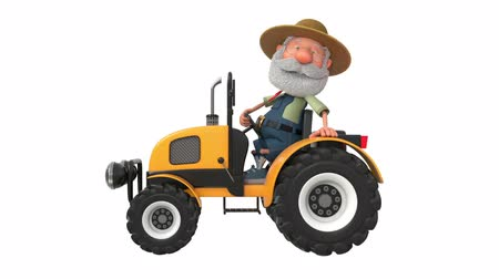 3d illustration farmer rides a tractor