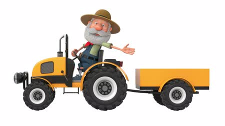 3d illustration farmer rides a tractor with a trailer Stock mozgókép