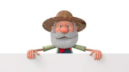 caricatura : 3D illustration funny farmer with poster  3d illustration an elderly farmer with a big sign Stock Footage