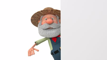 3D illustration funny farmer with poster